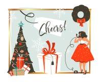 Übergeben Sie gezogener Vektorzusammenfassung Zeit der frohen Weihnachten und des guten Rutsch ins Neue Jahr Retro- Weinlesekarik stockfoto