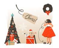Übergeben Sie gezogener Vektorzusammenfassung Zeit der frohen Weihnachten und des guten Rutsch ins Neue Jahr Retro- Weinlesekarik lizenzfreies stockfoto