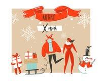 Übergeben Sie gezogener Vektorzusammenfassung Zeitkarikaturillustrations-Grußkarte der frohen Weihnachten und des guten Rutsch in lizenzfreie stockbilder
