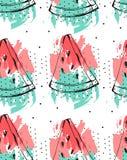 Übergeben Sie gezogener Vektorzusammenfassungscollage nahtloses Muster mit der Wassermelonenfrucht, die auf weißem Hintergrund lo Lizenzfreie Stockfotografie