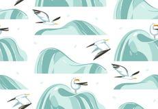 Übergeben Sie gezogener Vektorzusammenfassungskarikatur-Sommerzeit grafische Illustrationen künstlerisches nahtloses Muster mit F Lizenzfreies Stockbild