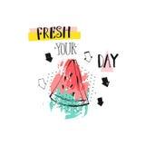 Übergeben Sie gezogener vetor Zusammenfassung kreative lustige Sommerzeitillustration mit watermelomn Scheibe, Pfeilen und handge Stockbilder