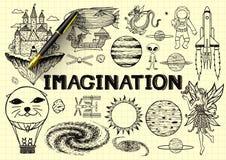 Übergeben Sie gezogenes über Fantasie auf gelbem Papier mit Füllfederhalter 3d Lizenzfreie Stockfotografie