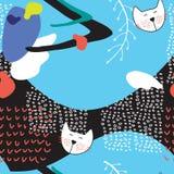 Übergeben Sie gezogenes abstraktes nahtloses Hintergrundmuster mit netten Katzen Stockbild