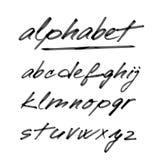 Übergeben Sie gezogenes Alphabet, Guss, lokalisierte Buchstaben Stockbild