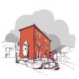 Übergeben Sie gezogenes altes Haus und Autos, städtische Skizze der Stadtwohnung Lizenzfreies Stockfoto