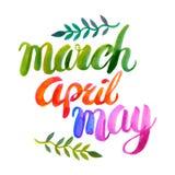 Übergeben Sie gezogenes Aquarell März April May, die mit Bürsteschatten gemacht wird und Lizenzfreie Stockbilder