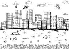Übergeben Sie gezogenes Architektur (Idee, Zeichnung, Stadt) auf weißem backgroun Stockbild