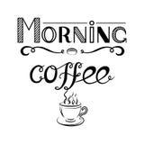 Übergeben Sie gezogenes Beschriftung ` Morgen-Kaffee ` und Ansicht eines Tasse Kaffees auf weißem Hintergrund Stockfoto