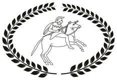 Übergeben Sie gezogenes dekoratives Logo mit dem altgriechischen Krieger Stockfoto