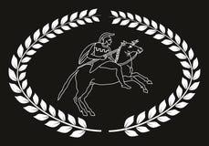 Übergeben Sie gezogenes dekoratives Logo mit dem altgriechischen Krieger, negativ Stockbilder