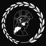 Übergeben Sie gezogenes dekoratives Logo mit dem Kopf des altgriechischen Kriegers, negativ Lizenzfreies Stockfoto