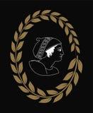 Übergeben Sie gezogenes dekoratives Logo mit dem Kopf von altgriechischen Frauen, negativ Lizenzfreies Stockfoto