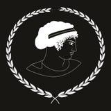 Übergeben Sie gezogenes dekoratives Logo mit dem Kopf von altgriechischen Frauen, negativ Stockbild