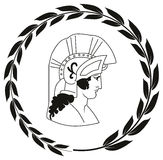 Übergeben Sie gezogenes dekoratives Logo mit Kopf des altgriechischen Kriegers Lizenzfreies Stockfoto