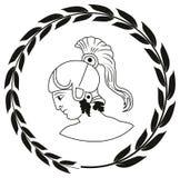 Übergeben Sie gezogenes dekoratives Logo mit Kopf des altgriechischen Kriegers stock abbildung