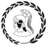 Übergeben Sie gezogenes dekoratives Logo mit Kopf des altgriechischen warrio Stockbilder