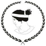 Übergeben Sie gezogenes dekoratives Logo mit Kopf von altgriechischen Frauen vektor abbildung