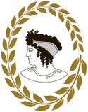 Übergeben Sie gezogenes dekoratives Logo mit Kopf von altgriechischen Frauen Lizenzfreie Stockfotos