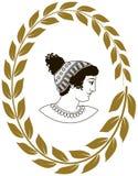 Übergeben Sie gezogenes dekoratives Logo mit Kopf von altgriechischen Frauen Stockfoto