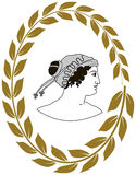 Übergeben Sie gezogenes dekoratives Logo mit Kopf von altgriechischen Frauen Stockbilder