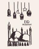 Übergeben Sie gezogenes eid Mubarak, Moschee, Stern, Mond und Laterne Stockfotografie