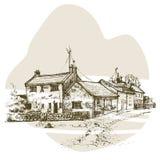 Übergeben Sie gezogenes englisches Häuschen, städtische Skizze der Stadtwohnung Stockbilder