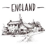 Übergeben Sie gezogenes englisches Häuschen, städtische Skizze der Stadtwohnung Von Hand gezeichnete Buchillustration, touristisc Stockfotografie