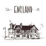 Übergeben Sie gezogenes englisches Haus, städtische Skizze der Stadtwohnung Lizenzfreies Stockfoto