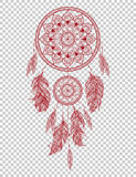 Übergeben Sie gezogenes gebürtiges indianisches Talisman dreamcatcher mit Federn Vektorhippie-Illustration Lizenzfreies Stockfoto