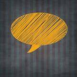 Übergeben Sie gezogenes Gelb geweißte Rede auf Designhintergrund Lizenzfreie Stockfotos