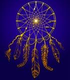 Übergeben Sie gezogenes goldenes indianisches dreamcatcher mit Federn und Lizenzfreies Stockfoto