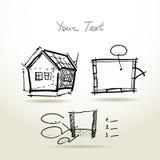 Übergeben Sie gezogenes Hausplan-Skizzenprojekt für Ihr Lizenzfreie Stockfotos