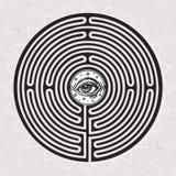 Übergeben Sie gezogenes Labyrinthlabyrinth mit Auge in ihm Lizenzfreies Stockfoto