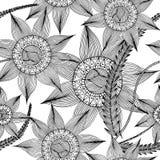 Übergeben Sie gezogenes mit nahtlosem Musterhintergrund der Tinte mit abstrakten Gekritzeln, Blumen, Blätter Stockbild