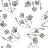 Übergeben Sie gezogenes nahtloses Muster mit Blumen im Vektor Lizenzfreie Stockfotografie