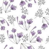 Übergeben Sie gezogenes nahtloses Muster mit Blumen im Vektor Lizenzfreie Stockfotos
