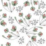 Übergeben Sie gezogenes nahtloses Muster mit Blumen im Vektor Stockfotografie