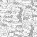 Übergeben Sie gezogenes nahtloses Muster mit dreifachen Geburtstagskuchen Auch im corel abgehobenen Betrag Für ein Geschenk verpa Lizenzfreie Stockfotografie