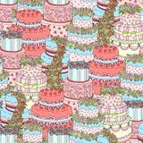 Übergeben Sie gezogenes nahtloses Muster mit dreifachen Geburtstagskuchen Auch im corel abgehobenen Betrag Für ein Geschenk verpa Stockbild