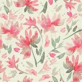 Übergeben Sie gezogenes nahtloses Muster mit losen Blumen des Aquarells Lizenzfreies Stockbild