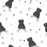 Übergeben Sie gezogenes nahtloses Muster mit netter Katze auf einem Regenbogen, Gekritzelillustration für Kindervektordruck Stockfotos