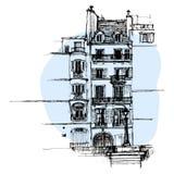 Übergeben Sie gezogenes Paris-Haus, städtische Skizze der Stadtwohnung lizenzfreie stockfotos