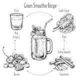 Übergeben Sie gezogenes Rezept des grünen Smoothie mit Früchten Frisches Getränk für gesundes Leben, Diäten Vektorillustration fü Stockfotografie