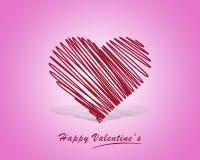 Übergeben Sie gezogenes rotes Herz auf einem Weiß und einem rosafarbenen Hintergrund Stockbilder