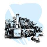 Übergeben Sie gezogenes Skizze Haus nahe Chateau de Chenonceau, Loire Valley, Frankreich Auch im corel abgehobenen Betrag lizenzfreies stockbild