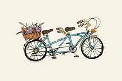 Übergeben Sie gezogenes Tandemstadtfahrrad mit Korb der Blume Weinlese, Retrostil Bunte Illustration des Skizzenvektors Stockfotos