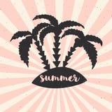 Übergeben Sie gezogenes Weinleseplakat mit Typografie, Sonnenstrahlen und Palmen Vektorillustration - Sommer Stockfotografie