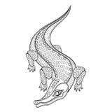 Übergeben Sie gezogenes zentangled Krokodil für erwachsene Farbtonseiten Stockfotos
