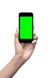 Übergeben Sie Holding intelligentes Mobiltelefon mit unbelegtem Bildschirm Stockfotografie
